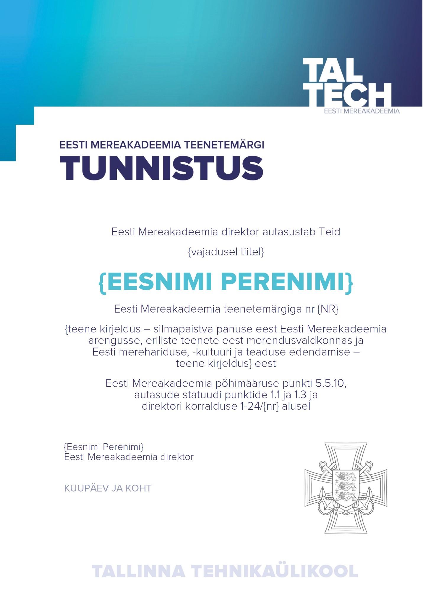 Eesti Mereakadeemia teenetemärgi tunnistus